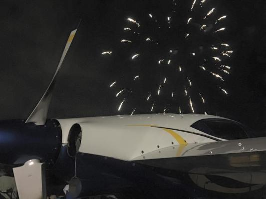 Plane and Fireworks