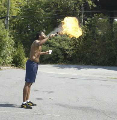 Spitting fire