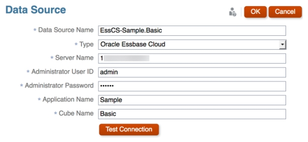 Essbase Cloud Data Source Connection