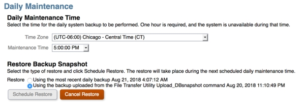 Daily Maint-Restore Time